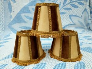 3 x Vintage / Antique Clip On Table/Wall Lamp Light Shades ~ Fringed Brown /Gold