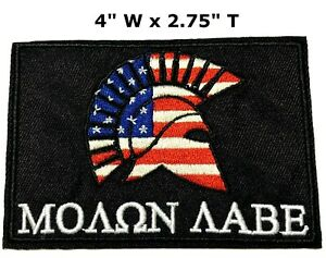 Molon Labe USA Flag Spartan Helmet Embroidered Patch Hook Loop Military Applique