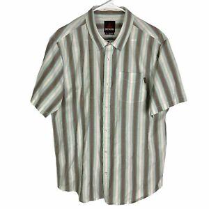 Prana Button Shirt Mens Large Beige Brown Blue Striped Short Sleeve Cotton Blend