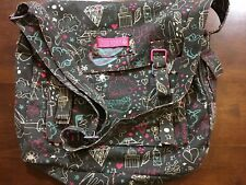 Zoo York Pink & Gray Flap Front Hook & Loop Closure Book Bag (12B)