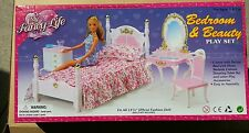 GLORIA FURNITURE SIZE Victoria BEDROOM Mirror Bench Vanity chair SET FOR BARBIE
