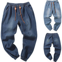 Men's Solid Autumn Denim Cotton Vintage Wash Hip Hop Work Trousers Jeans Pants