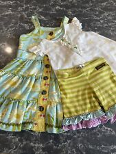 Matilda Jane Girl's Sunflower Floral Blue Sleeveless Dress Shirt And Shorts. 6