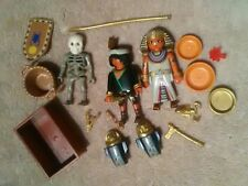 Playmobil Egyptian Pharoah Skeleton Lot w/ Treasure Gold Accessories