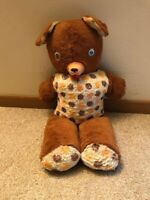 "Vintage 1950's Teddy Bear Rubber Nose Wiggle Eyes, 24""- Polk County Fair MN"