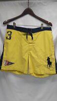 Polo Ralph Lauren Swim Trunks Board Shorts Big Pony Flag #3 Yellow Size Small