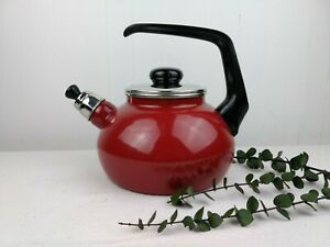 Geithainer Red Whistling Kettle Tea Pot Stovetop Germany Black Chrome Silver