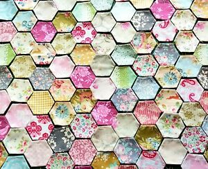 Collection 100 tacked new Tilda cotton floral patchwork hexagons charm/quilt