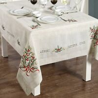 Fine Embroidered Linen Mistletoe Christmas Fabric Tablecloth - Assorted Sizes