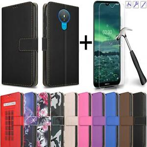 For Nokia 1.4 Case Leather Flip Wallet Stand Phone Cover + Screen Tempered Glass