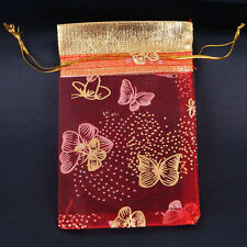5 RED Organza Gift Bag Red & Gold Butterfly Print Wedding Favor Jewellery Pouch
