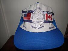 trucker hat baseball cap USA CANADA CEMENT MASONS vintage retro Flat Brim RARE