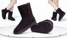 Para mujer de invierno de cuero y gamuza tobillo Botas de Nieve Colores Chocolate UK 7