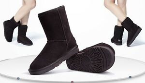 Women's Winter Leather/Suede Ankle Snow Boots Chocolate  Colors UK 7