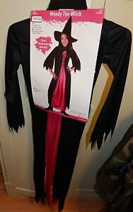 Halloween Costume Witch Gown & Hat Large Kid Size 12 to 14 years Fun World 120D