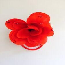 RED FLOWER HAIRBAND / PONYTAIL HOLDER ~ LADIES ~ GIRLS