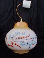 ancien lustre 1970-vintage-en opaline-décor fleurs-deux tons