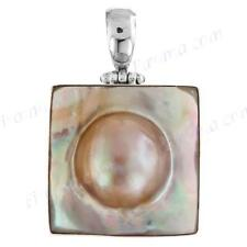 "1 1/2"" SQUARE MABE PEARL IN MOTHER OF PEARL SHELL 925 STERLING SILVER pendant"