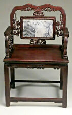 Fine Chinese Carved Antique Rosewood & Marble Armchair.
