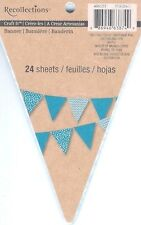 New Recollections Banner Paper Pad 24 Double Sided Patterned Blue DIY Free Ship