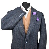 Harris Tweed Tailored Country Navy Blazer Jacket 40S #417 RARE WEAVE