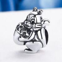 Cute Squirrel Charm .925 Sterling Silver European Charm Bead fit Bracelet Chain