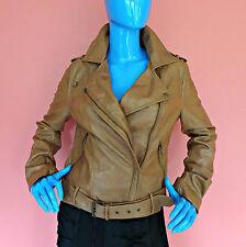 American Rag Faux Vegan Leather Moto Jacket Coat Juniors M 7 8 Brown Motorcycle