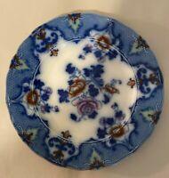 Antique Vintage Ridgway's Flow Blue Dinner Plate Moyune Pattern Rust Pink Green