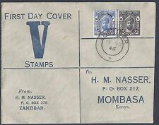 Zanzibar 1946 Victory Set Complete On Fdc To Mombasa Kenya