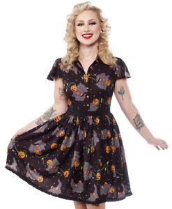 Sourpuss Feline Spooky Lydia Halloween Cats Pumpkins Gothic Punk Dress SPDR441