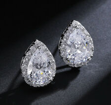 18k White Gold GF Solitaire Earrings made w Swarovski Crystal Pear Stone Bridal