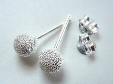 5mm Faux Diamond-Dust Bead Ball Studs 925 Sterling Silver Corona Sun Jewelry
