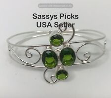 Marked 925 Sterling Silver Green Peridot Gemstone Cuff  Bracelet Handmade IB203