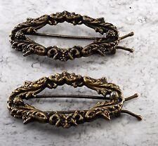 Vintage Hair Barrette Pair Brass Metal Victorian Motif Hair Accessorie