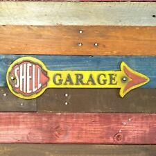 Shell Garage Arrow Cast Iron Sign Motor Oil Gasoline Gas Pump Advertising Plate