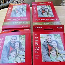 """Lot 4 Package Canon Photo Paper Plus Glossy ll  4"""" x 6"""" 100 Sheets in Each PP201"""