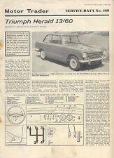 Triumph Herald 13/60 Motor Trader Service Data No 468 1968 + Chassis & Body Supp