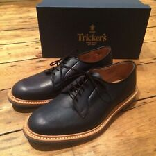 Trickers Robert Shoes Blue Plain Derby UK 10 Commando Sole