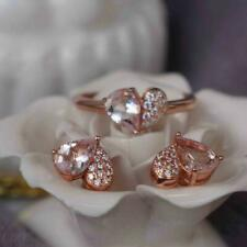 14K Rose Gold Gp 3Ct Pear Morganite Diamond Valentine Gift Ring And Earrings Set