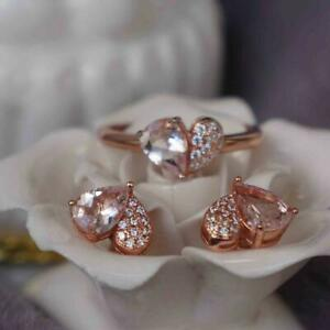 14K Rose Gold Gp 3Ct Pear Morganite Diamond Valentine Gift Ring And Earrings Set