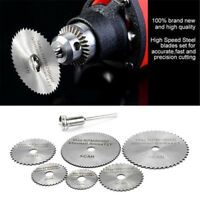 7PCS Cutting Discs Mandrel HSS Rotary Circular Saw Blades Tool Cutoff Accessory
