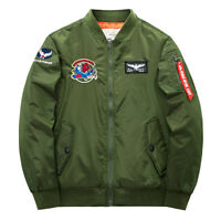 Mens Military Jackets Pilot Flight Air Force Bomber Zip Coats Leightweight WJ227