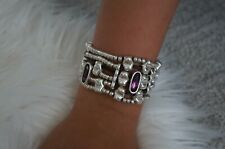 NEW Uno De 50 Silver Fuchsia Elements Crystal STRONGER Statement Bracelet 7""