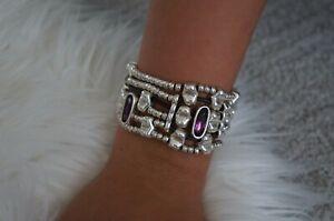 "NEW Uno De 50 Purpl Elements Crystal STRONGER Silver Wrap Statement Bracelet 7"""