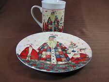 Debi Hron Ceramic Santa Collection Plate and Mug Set 2005 Holiday Home Signed