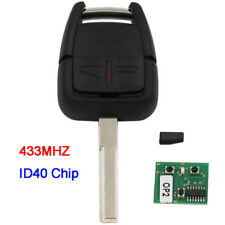 For Vauxhall Opel Astra Vectra Zafira 3 Button Remote Key 433MHz with ID40 Chip