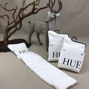 3x HUE White Flat Knit Knee Socks Made in USA Knee High