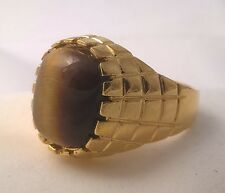 G-Filled Men's 18ct yellow gold Tiger's eye ring Gents classical Gentleman's new