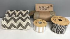 Lot of 4 New Burlap Ribbon Rolls Chevron Zebra Stripe Solid Print 1 Partial Roll