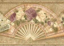 Victorian Ladies Floral Fans - Gold Purple Ivory -  Wallpaper Border 645
